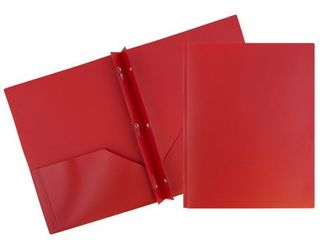 JAM Plastic Two Pocket Clasp POP Folders  6 pack  Red