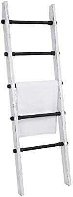 My Gift Industrial Pipe and Vintage Whitewashed Wood Quilt Blanket and Towel Storage ladder Stand
