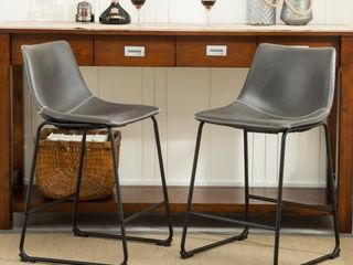 Roundhill Furniture lotusville Vintage PU leather Counter Height Stools  Antique Brown  Set of 2
