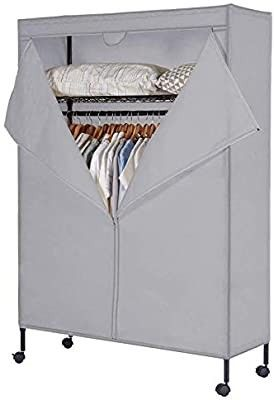 JS HOME Heavy Duty Garment Rack  Free Standing Rolling Clothes Rack with Fitted Beidge Non Woven Cover  Extra large Wardrobe Storage Rack Organizer