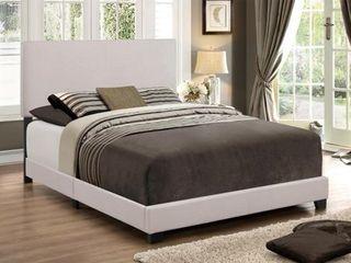 Crown Mark Upholstered Panel Bed in Stone Khaki  Full