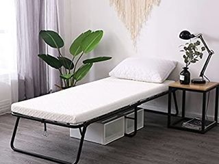 lEISUIT Rollaway Guest Bed Cot Fold Out Bed   Portable Folding Bed Frame with Thick Memory Foam Mattress for Spare Bedroom   Office