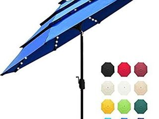 EliteShade Sunbrella Solar 9ft 3 Tiers Market Umbrella with 80 lED lights Patio Umbrellas Outdoor Table with Ventilation and 5 Years Non Fading Top Royal Blue