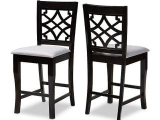 Set of 2 Nisa Upholstered Wood Counter Height Barstools Gray Espresso   Baxton Studio