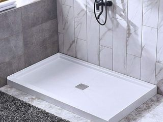 WOODBRIDGE SBR6036 1000C Solid Surface Shower Base with Recessed Trench Side Including Stainless Steel linear Cover  60  l x 36  W x 4  H Center Drain White Color