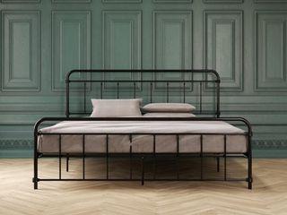 Zinus Mia Modern Studio 14 Inch Platform 1500H Metal Bed Frame With Headboard  King AZ ASMPH 15K Black