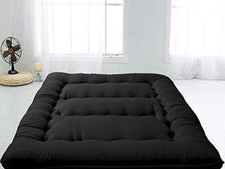 MAXYOYO Japanese Floor Mattress Futon Mattress  Thicken Tatami Mat Foldable Floor lounger Pillow Bed  Black  Twin Size