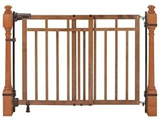 Summer Banister and Stair  Top of Stairs Baby Gate with Dual Installation Kit  Honey Oak Wood Finish 33 Tall  Fits Openings up to 32 to 48 Wide  Baby and Pet Gate for Doorways and Stairways
