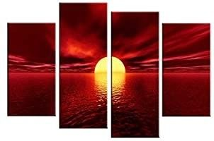 Wieco Art Giclee Canvas Prints Wall Art Red Sea Pictures Sun Paintings Ready to Hang for living Room Bedroom Home Decorations Modern 4 Piece large Stretched and Framed Seascape Ocean Beach Artwork