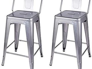 30 Inch low Back Bar Height Stool  2 Pack  Silver
