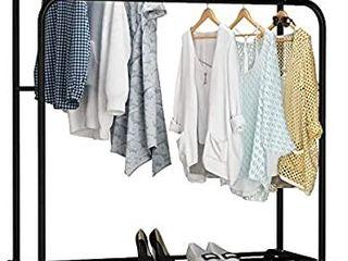 UDEAR Garment Rack Freestanding Hanger Double Rods Multi functional Bedroom Clothing Rack  Black