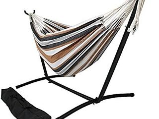 Double Brazilian Hammock with Stand   Carrying Case   large Two Person Hammock with Brazilian Stand   400 Pound Capacity   Calming Desert