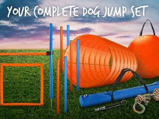 CHEERING PET Dog Agility Equipment  Dog Obstacle Course for Training and Interactive Play Includes Dog Agility Tunnel  Adjustable Hurdles  Poles  Whistle  Rope Toy with Carrying Case