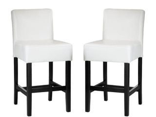lopez 26 in  Ivory leather Counter Stool  Set of 2
