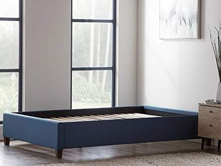lUCID Upholstered Bed with Slats linen Inspired Fabric No Box Spring Required Compatible with Adjustable Bases Platform  California King  Cobalt