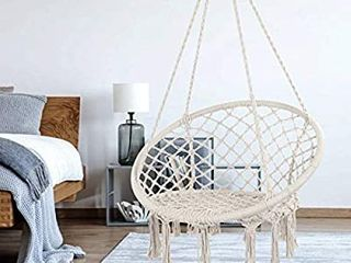 Hammock Chair Macrame Swing  Max 330 lbs  Hanging Cotton Rope Hammock Swing Chair for Indoor and Outdoor Use  Beige