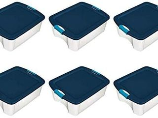 Sterilite 1446 18 Gallon latch and Carry Storage Tote Box Container  True Blue lid and Clear Base with Blue Aquarium latches  6 Pack