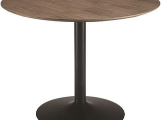 Clora Collection 110280 40  Dining Table with Metal Pedestal Base Round Shape and Veneered Top in Walnut