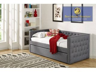 Best Master Furniture laura lT001 DAYBED Grey Fabric w  Nailheads