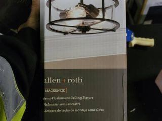 Allen   Roth 13 in Black Transitional Incandescent Semi flush Mount light  4119