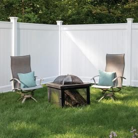 Gatehouse Emblem White Flat Top Privacy Vinyl Fence Panel  Common  72 in x 8 ft  Actual  72 in x 7 53 ft