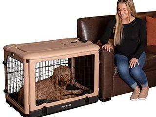 Pet Gear The Other Door 4 Door Steel Crate with Plush Bed   Travel Bag for Cats Dogs   HAS 1 BROKEN lATCH