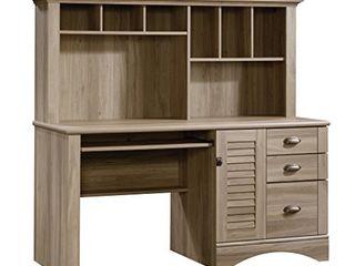 Sauder Harbor View Computer Desk with Hutch  Salt Oak finish