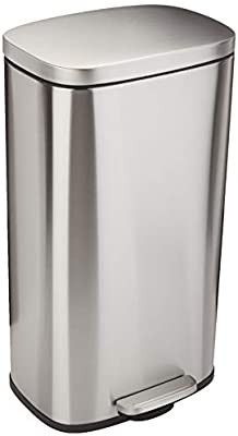 AmazonBasics Rectanglular  Stainless Steel  Soft Close  Step Trash Can  50 liter  13 2 Gallon  Satin Nickel