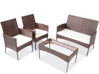 4 Piece Sectional Rattan Patio Furniture Wicker Conversation Garden lawn Outdoor Sofa Set Cushioned Seat Tempered Glass Table W36812141