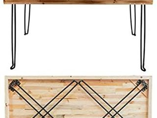 SlEEKFORM Folding Desk lightweight Portable Wood Table 47 x 24    Small Wooden Foldable Workstation for Study Writing Computer PC laptop   Industrial Rustic   Metal Hairpin legs   No Assembly Required