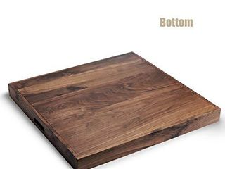 MAGIGO 26 x 26 Inches large Square Black Walnut Wood Ottoman Tray with Handles  Serve Tea  Coffee or Breakfast in Bed  Classic Wooden Decorative Serving Tray