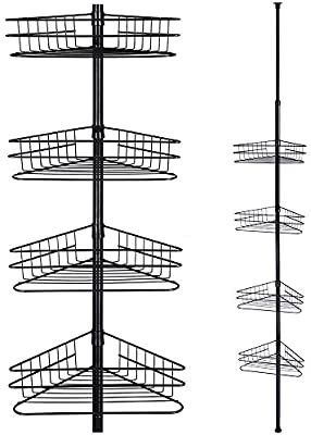 Aquaterior 4 Tier Metal Bathroom Telescopic Corner Shower Shelf Caddy Pole Wall Rack Storage Organizer Soap Holder Black