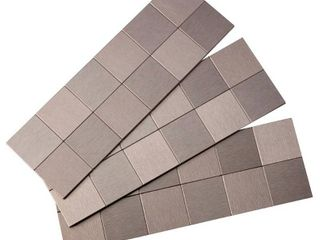 Aspect A94 50 Peel and Stick Backsplash Square Metal Tile for Kitchen and Bathrooms  12  x 4  Stainless Matted RETAIl  16 65