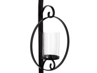 Round Glass and Metal Wall Sconce   12x22 black