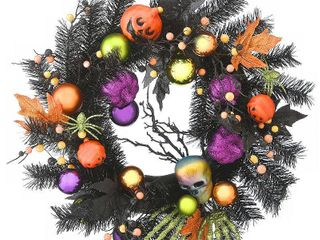 22  Halloween Decorated Wreath black