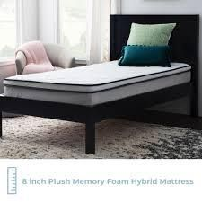 taylor and olive 8 inch memory foam hybrid mattress Twin   Firm  Retail 135 19
