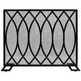 Buncombe Modern Single Panel Fireplace screen by Christopher Knight Home   30 75  H x 41 00  W x 8 00  D  Retail 128 49 black brushed silver finish