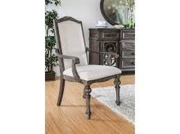 furniture of America Dianne scrolled wood chairs with fabric cushion rustic natural tone