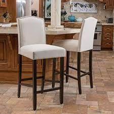 logan 30 inch Fabric Backed Barstool by Christopher Knight Home  Set of 2  Retail 219 99 ivory