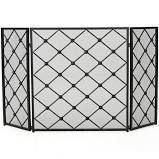 chelsey 3 panel fireplace screen black
