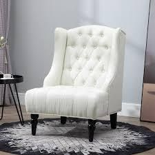 Copper Grove Erin linen upholstered Button tufted Tall Wingback Accent Chair with Wood legs   Retail 238 49 beige