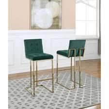 best quality furniture velvet button tufted 29 inch bar stools set of 2 emerald green and gold