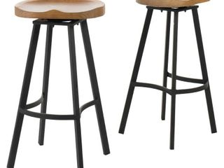 Albia 32 inch Swivel Barstool  Set of 2  by Christopher Knight Home   Retail 183 99 steel and wood