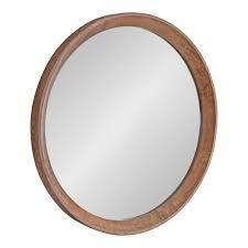 kate and laurel hartman wood framed Round mirror