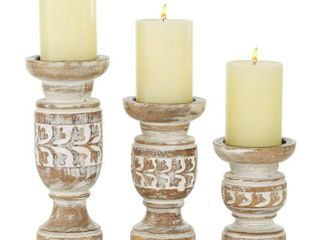Weathered Beige Wooden Candle Holder Set of 3 6  8  10    4 x 4 x 10