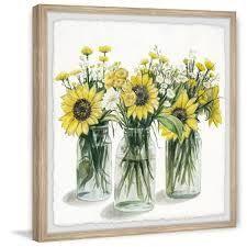 parveztaj marmot hill handmade sunflower center grey wood frame