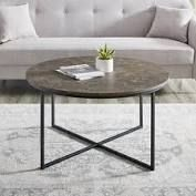 Silver Orchid Helbling 36 inch Round Coffee Table  Retail 163 99brown faux marble with x base black