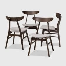 Set of 4 Britte Fabric Upholstered Wood Dining Chair Set light Gray Dark Brown   Baxton Studio