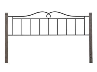 Hillsdale Dumont Headboard only metal headboard with wood post king texture black with brushed charcoal