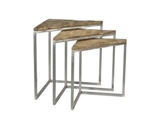 Crestview Mango Wood Set of 3 Nested Tables In Parkview Grey Finish CVFNR677